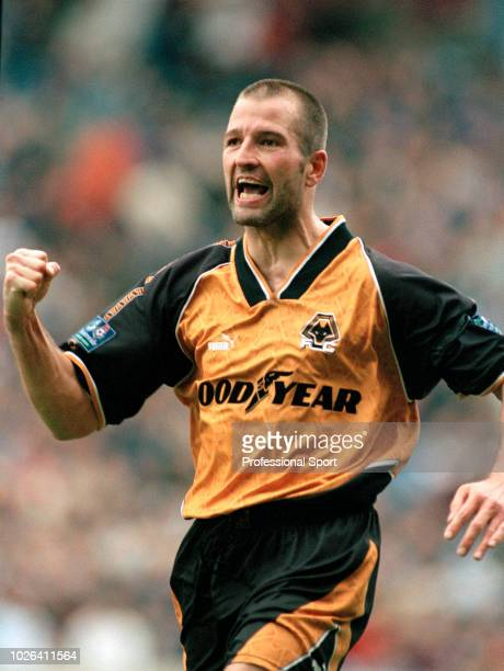 Steve Bull of Wolverhampton Wanderers celebrates after scoring during the Nationwide Football League Division One match between Manchester City and...