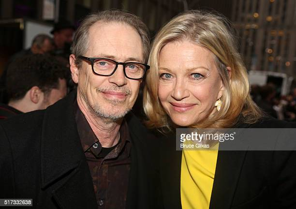 Steve Buscemi and Diane Sawyer pose at the opening night arrivals for Bright Star on Broadway at The Cort Theatre on March 24 2016 in New York City