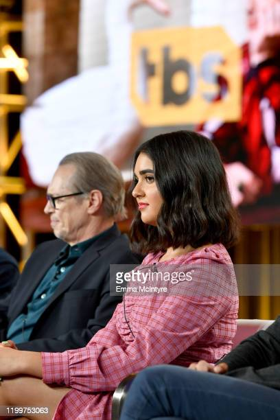 Steve Buscemi and Geraldine Viswanathan of 'Miracle Workers Dark Ages' appear onstage during the TBS segment of the 2020 Winter Television Critics...