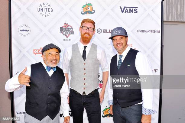 Steve Caballero Triumph Newport Beach Sales Manager Aaron Clink and CEO of Blue C Advertising Eric Morley attend the 'Distinguished Gentleman's Ride'...