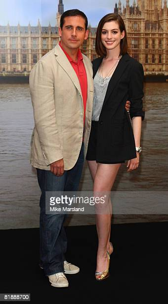 Steve Carell and Anne Hathaway attends the 'Get Smart' photocall at Claridges on July 10 2008 in London England