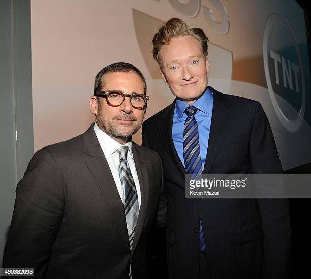 Steve Carell and Conan O'Brien attend the TBS / TNT Upfront 2014 at The Theater at Madison Square Garden on May 14 2014 in New York City...