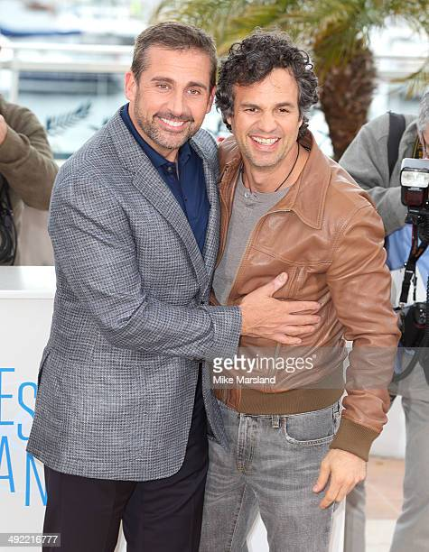 Steve Carell and Mark Ruffalo attend the 'Foxcatcher' photocall at the 67th Annual Cannes Film Festival on May 19 2014 in Cannes France