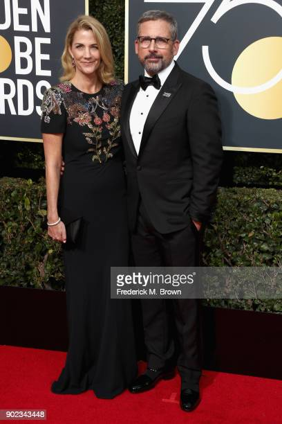 Steve Carell and Nancy Carell attends The 75th Annual Golden Globe Awards at The Beverly Hilton Hotel on January 7 2018 in Beverly Hills California