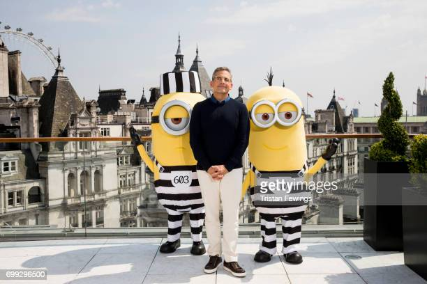 Steve Carell and the Minions attend a photo call in London to celebrate the release of DESPICABLE ME 3 on June 30th at Corinthia Hotel London on June...