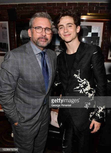 Steve Carell and Timothee Chalamet attend the Beautiful Boy Afterparty Hosted by Amazon Studios and Hugo Boss during 2018 Toronto International Film...