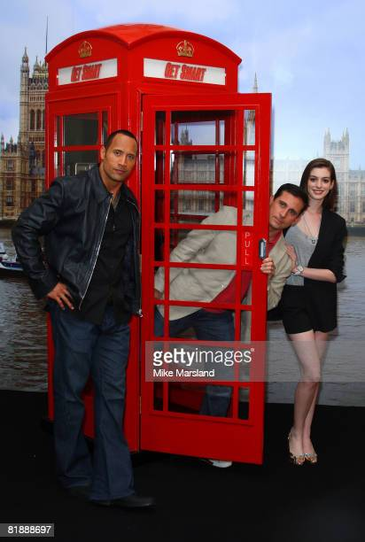 Steve Carell Anne Hathaway and Dwayne Johnson attend the 'Get Smart' photocall at Claridges on July 10 2008 in London England