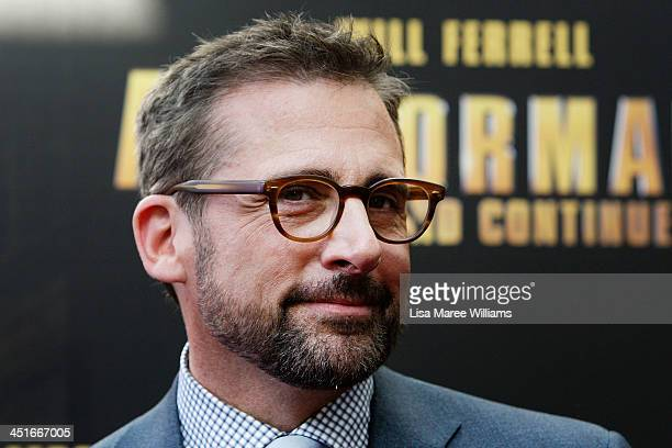 """Steve Carell arrives at the """"Anchorman 2: The Legend Continues"""" Australian premiere at The Entertainment Quarter on November 24, 2013 in Sydney,..."""