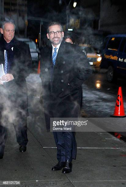 Steve Carell arrives for the 'Late Show with David Letterman' at Ed Sullivan Theater on February 9 2015 in New York City