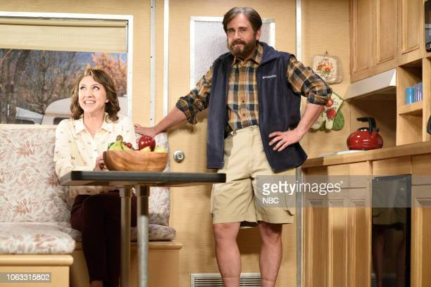 LIVE Steve Carell Episode 1752 Pictured Heidi Gardner and host Steve Carell during the RV Life sketch on Saturday November 17 2018
