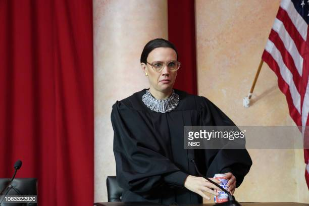 LIVE Steve Carell Episode 1752 Pictured Kate McKinnon as Ruth Bader Ginsburg during the Courtroom Rap sketch on Saturday November 17 2018