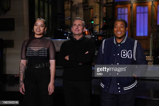 LIVE Steve Carell Episode 1752 Pictured Musical guest Ella Mai host Steve Carell and Kenan Thompson during Promos on Thursday November 15 2018