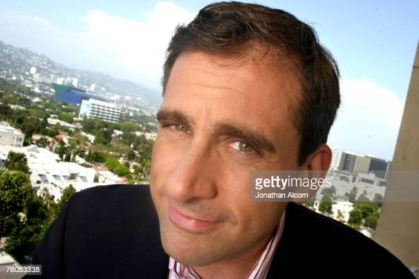 Steve Carell star of the new film 'The 40 Year Old Virgin' and the NBC comedy 'The Office' at the Four Season's Hotel in Beverly Hills California on...