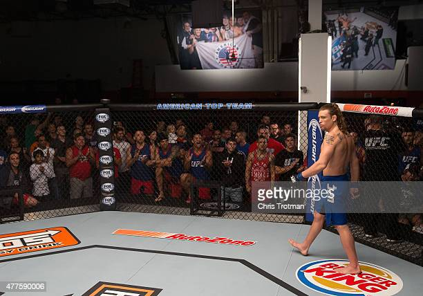 Steve Carl enters the Octagon before facing Kamarudeen Usman during the filming of The Ultimate Fighter: American Top Team vs Blackzilians on...