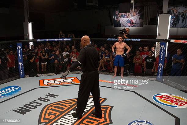 Steve Carl prepares to begin the second round while facing Kamarudeen Usman during the filming of The Ultimate Fighter: American Top Team vs...