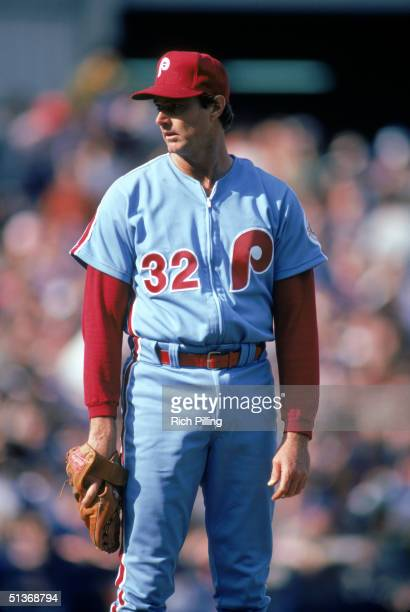 Steve Carlton of Philadelphia Phillies looks on from the mound during a MLB season game circa 19721986