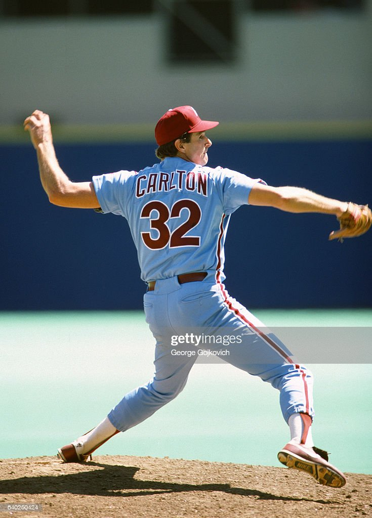 Steve Carlton of the Philadelphia Phillies pitches against the Pittsburgh Pirates during a Major League Baseball game at Three Rivers Stadium in 1983 in Pittsburgh, Pennsylvania.