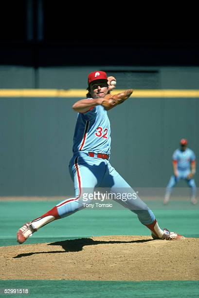 Steve Carlton of the Philadelphia Phillies pitches during a 1976 MLB game at Three Rivers Stadium in Pittsburgh Pennsylvania