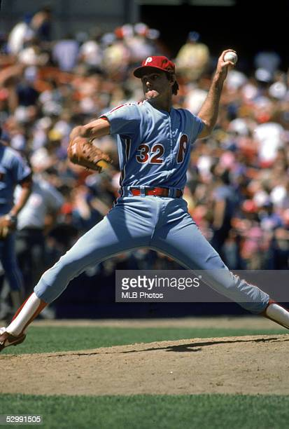 Steve Carlton of the Philadelphia Phillies pitches during an MLB game. Steve Carlton played for the Philadelphia Phillies from 1972-1986.