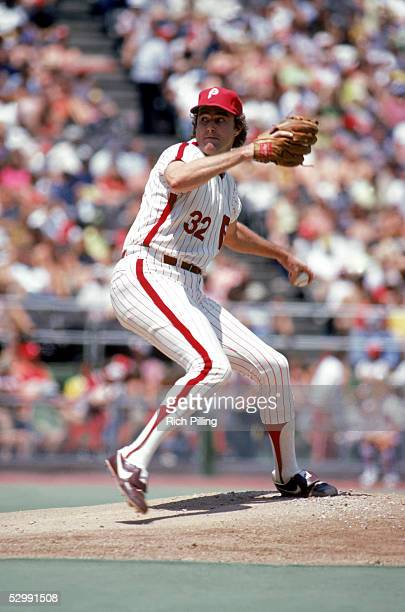 Steve Carlton of the Philadelphia Phillies pitches during an MLB game at Veterans Stadium in Philadelphia Pennsylvania Carlton played for the...