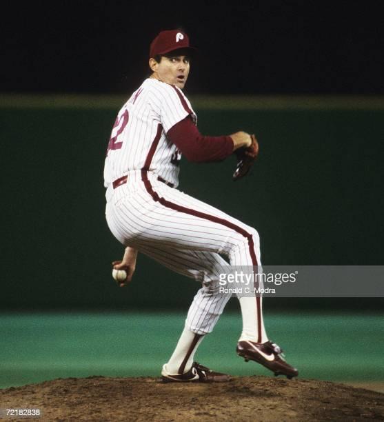 Steve Carlton of the Philadelphia Phillies pitches in Veterans Stadium in Phildelphia, Pennsylvania.