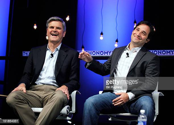 Steve Case Chairman and CEO of Revolution LLC and cofounder of America On Line sits with Josh Linkner of Detroit Venture Partners while speaking at...