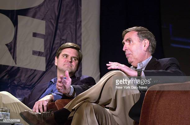 Steve Case chairman of the board of AOL Time Warner and Gerald Levin CEO of AOL Time Warner are on hand at The Big Picture a media conference at the...