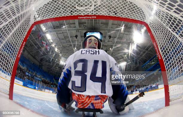 Steve Cash goaltender of United States looks on in the Ice Hockey Preliminary Round Group B game between United States and Czech Republic during day...