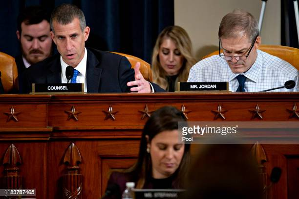 Steve Castor, general counsel for the Oversight and Government Reform Committee, top left, questions witnesses as Representative Jim Jordan, a...