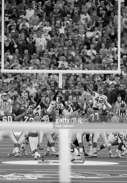 Steve Christie, Kicker for the Buffalo Bills kicks a 46 yard game winning overtime field goal against the San Diego Chargers on 15 October 2000 at...