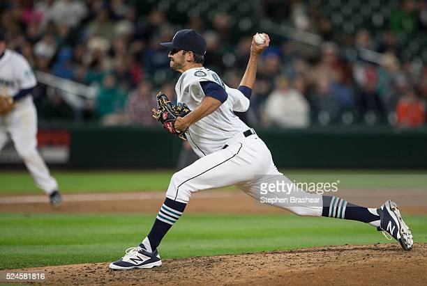 Steve Cishek delivers a pitch during game against the Houston Astros at Safeco Field on April 25 2016 in Seattle Washington The Marines won the game...