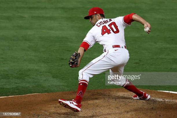 Steve Cishek of the Los Angeles Angels throws a pitch in the seventh inning against the Kansas City Royals at Angel Stadium of Anaheim on June 08,...