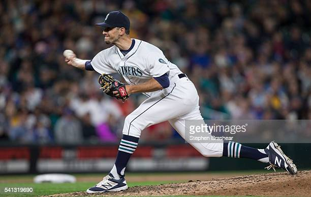 Steve Cishek of the Seattle Mariners delivers a pitch during a game against the Texas Rangers at Safeco Field on June 11 2016 in Seattle Washington...