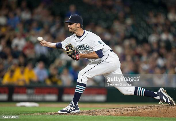 Steve Cishek of the Seattle Mariners delivers a pitch during a game against the Pittsburgh Pirates at Safeco Field on June 28 2016 in Seattle...