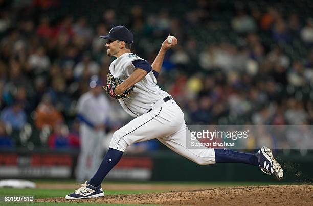 Steve Cishek of the Seattle Mariners delivers a pitch during a game against the Texas Rangers at Safeco Field on September 7 2016 in Seattle...