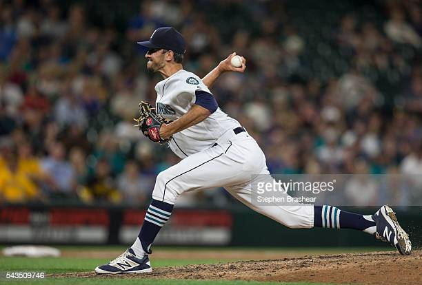 Steve Cishek of the Seattle Mariners delivers a pitch during the ninth inning of a game against the Pittsburgh Pirates at Safeco Field on June 28...