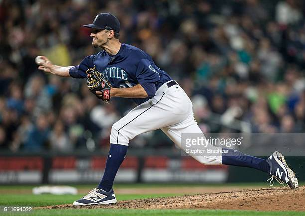 Steve Cishek of the Seattle Mariners delivers a pitch during the ninth inning of a game against the Oakland Athletics at Safeco Field on September 30...