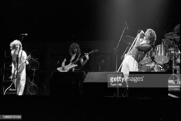 Steve Clark, Rick Savage, Joe Elliott and Rick Allen of Def Leppard perform at The Fox Theater on September 4, 1981 in Atlanta, Georgia.