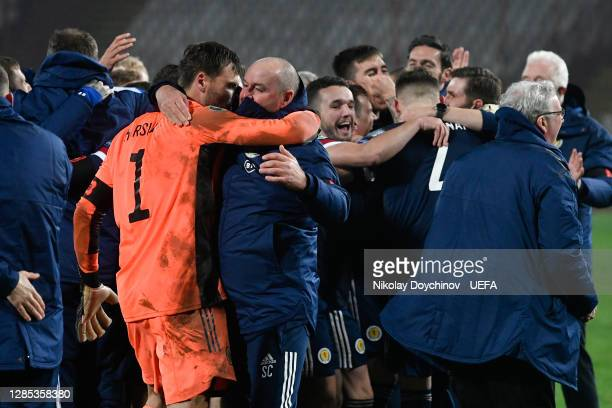Steve Clarke, Head Coach of Scotland celebrates with David Marshall of Scotland after the UEFA EURO 2020 Play-Off Final between Serbia and Scotland...