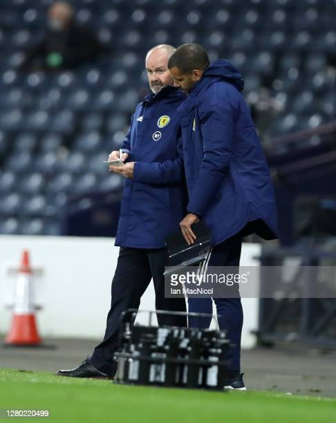Steve Clarke Head Coach of Scotland looks on during the UEFA Nations League group stage match between Scotland and Czech Republic at Hampden Park on...
