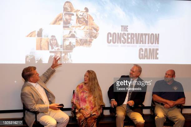 Steve Clemons, Carole Baskin, Michael Webber, and Tim Harrison speak during a screening of THE CONSERVATION GAME at Eaton Hotel on June 24, 2021 in...