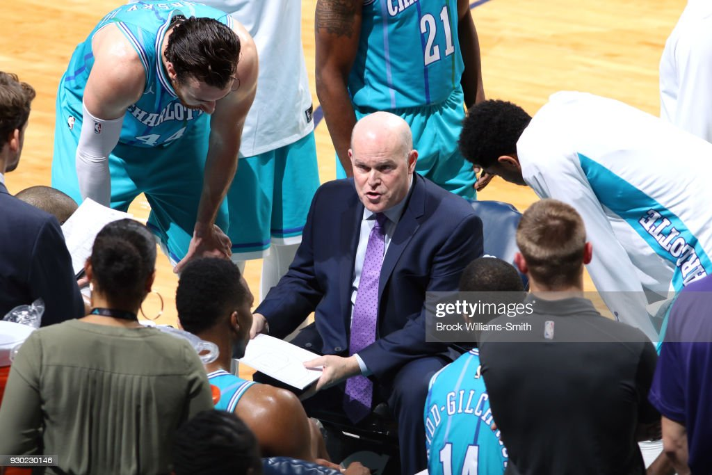 Steve Clifford of the Charlotte Hornets talks to his team during the game against the Phoenix Suns on March 10, 2018 at Spectrum Center in Charlotte, North Carolina.