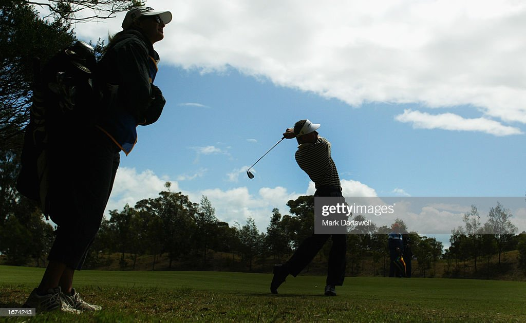 Steve Collins of Australia plays his second shot on the 14th during the first round of the Ericcson Masters Golf held at the Huntingdale Golf Club in Melbourne, Australia on December 5th, 2002. (Picture by Mark Dadswell/Getty Images).