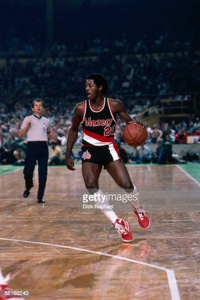 Steve Colter of the Portland Trail Blazers moves the ball up court against the Boston Celtics during a game played on December 6 1985 at the Boston...