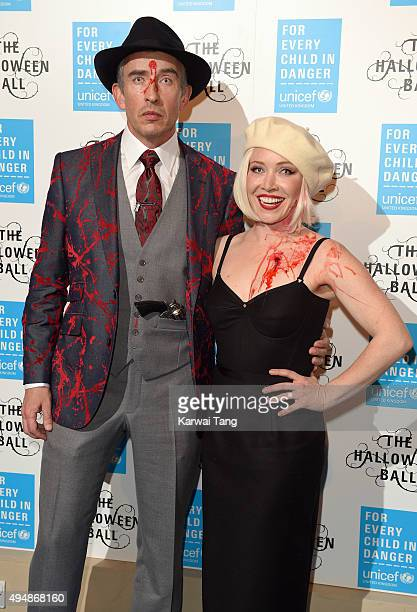 Steve Coogan and Daisy Lewis attend the UNICEF Halloween Ball at One Mayfair on October 29 2015 in London England