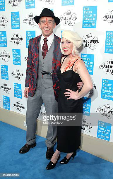 Steve Coogan and Daisy Lewis attends the UNICEF Halloween Ball at One Mayfair on October 29 2015 in London England