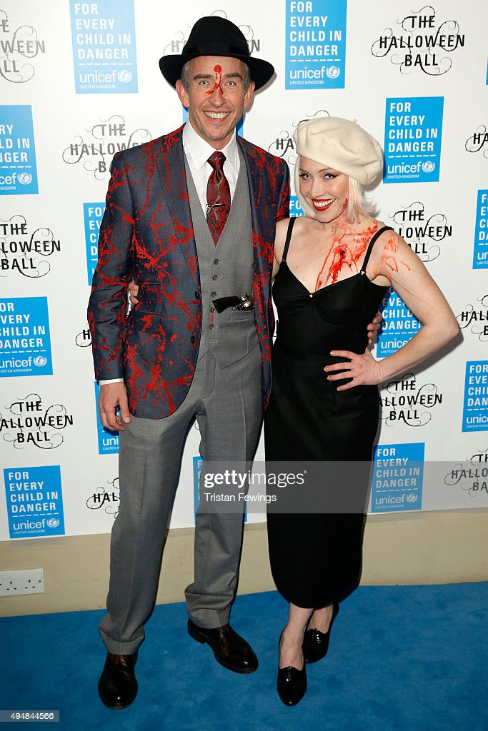 Steve Coogan and guest attend the UNICEF Halloween Ball at One Mayfair on October 29, 2015 in London, England.