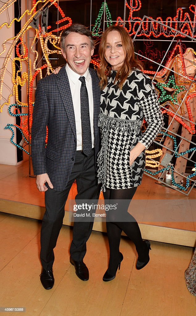 Steve Coogan (L) and Stella McCartney attend the Stella McCartney Christmas Lights Switch On at the Stella McCartney Bruton Street Store on November 26, 2014 in London, England.