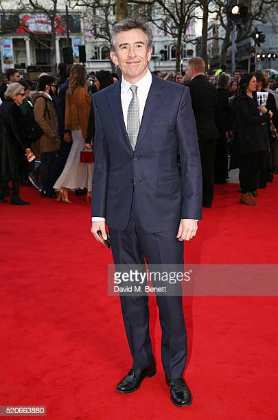 Steve Coogan arrives for the UK film premiere Of 'Florence Foster Jenkins' at Odeon Leicester Square on April 12 2016 in London England