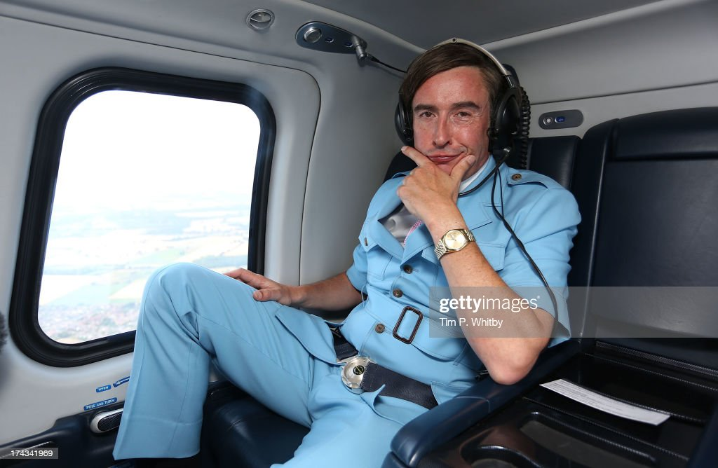 Steve Coogan as Alan Partridge travels by helicopter from Norwich to London after attending the 'Alan Partridge: Alpha Papa World' Premiere Day at Hollywood Cinema Norwich on July 24, 2013 in London, England.